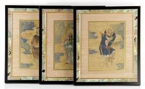 Three Chinese Paintings on Silk