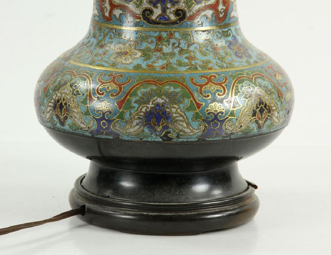 Asian Cloisonne Lamp - 7