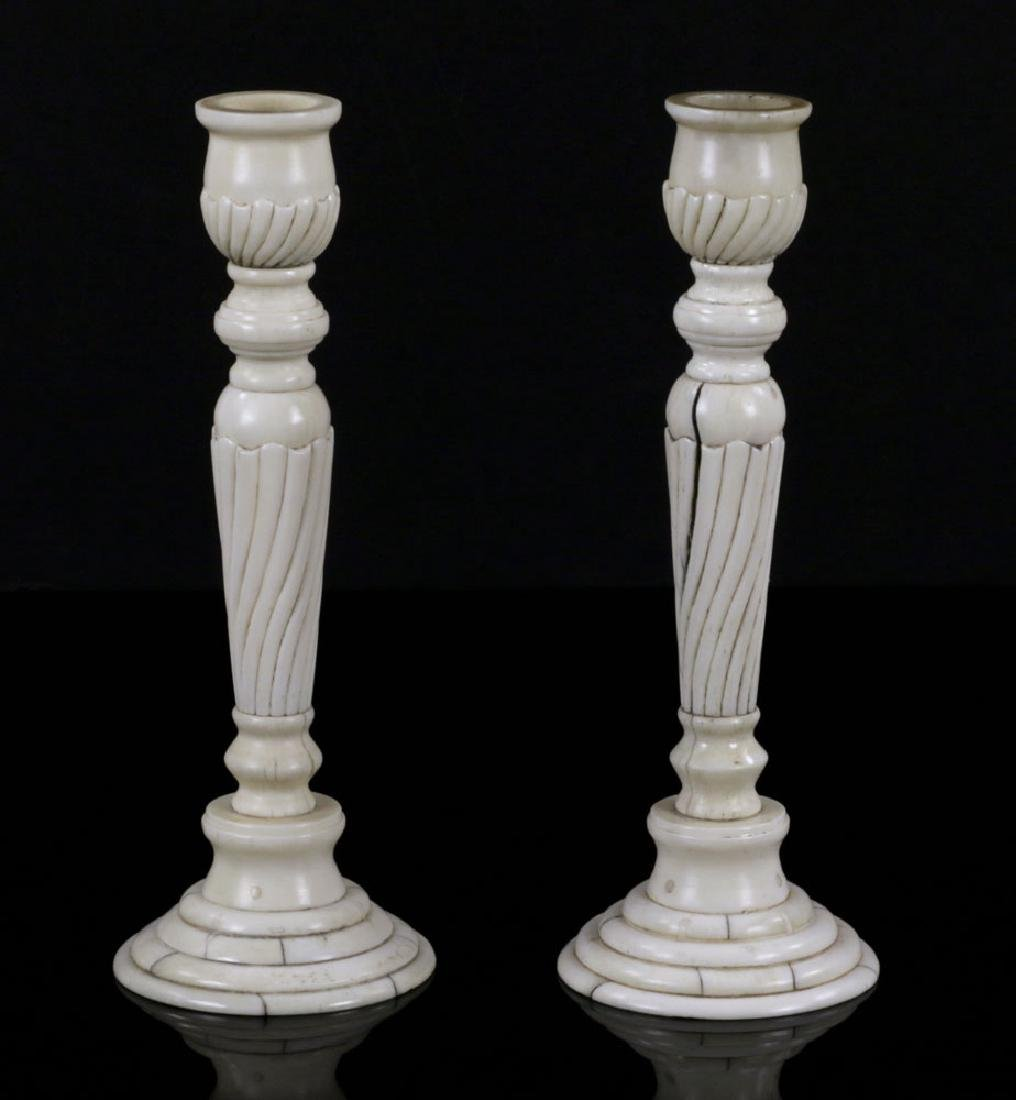 Pair of Bone Candlesticks
