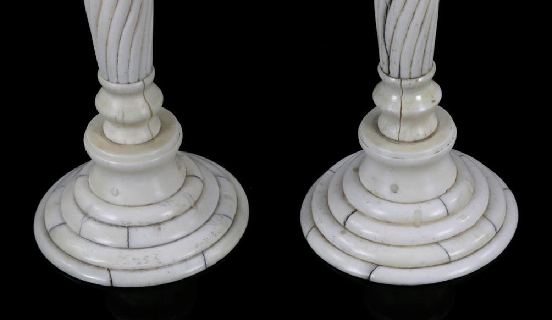 Pair of Bone Candlesticks - 4