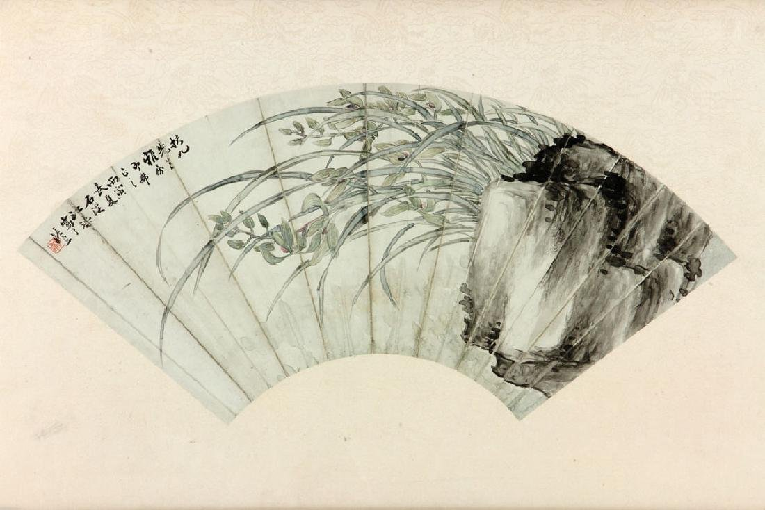 2 Chinese Fan Shaped Watercolor Paintings - 3