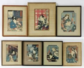 Seven Japanese Wood Block Prints