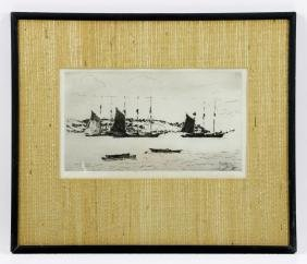 Little, Clipper Ships in Harbor, Etching