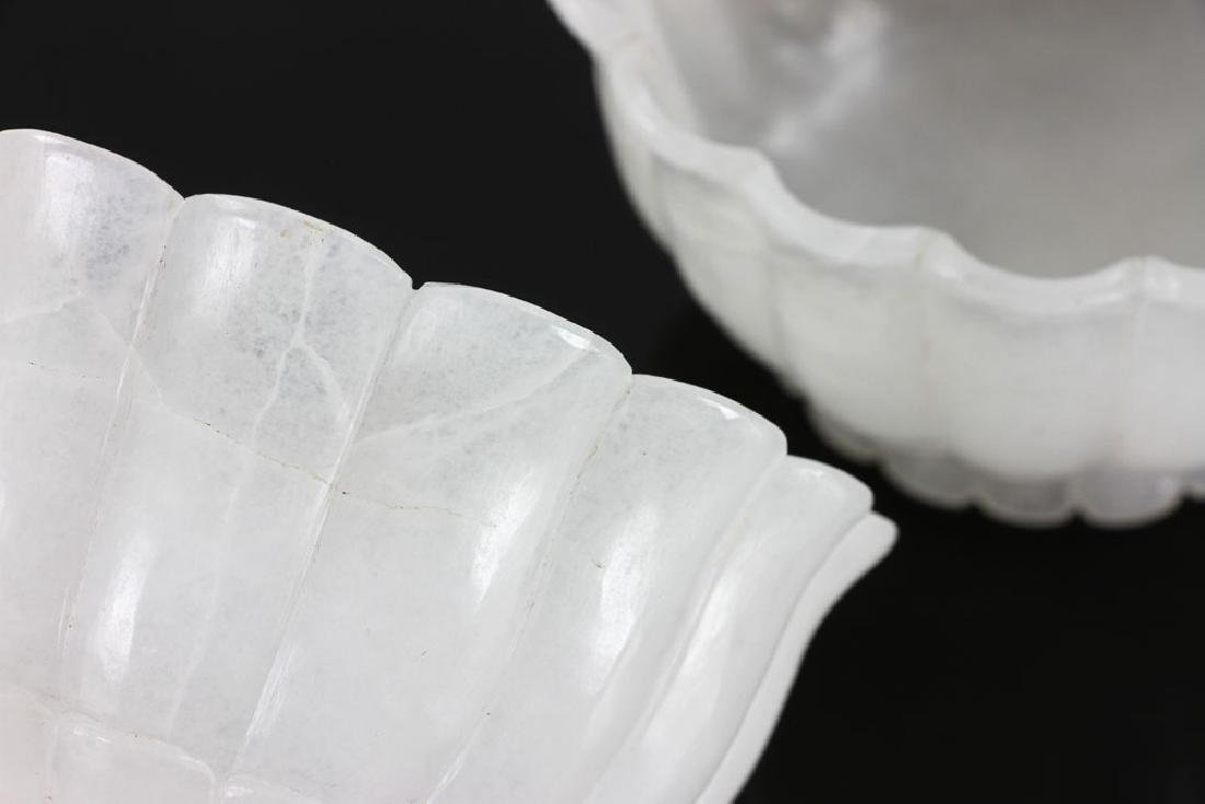 Pair of Carved White Jade Bowls - 7
