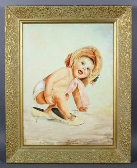 Jacquolt, Portrait of a Baby, Oil on Board