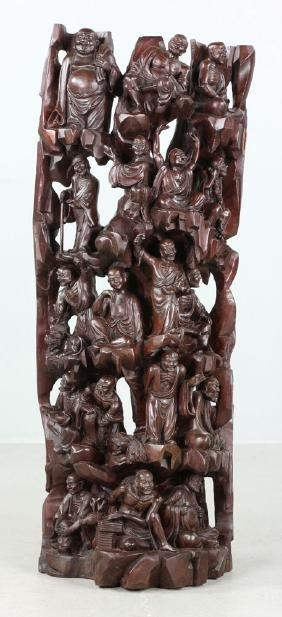 Chinese Wood Carving of 18 Luohan Figures