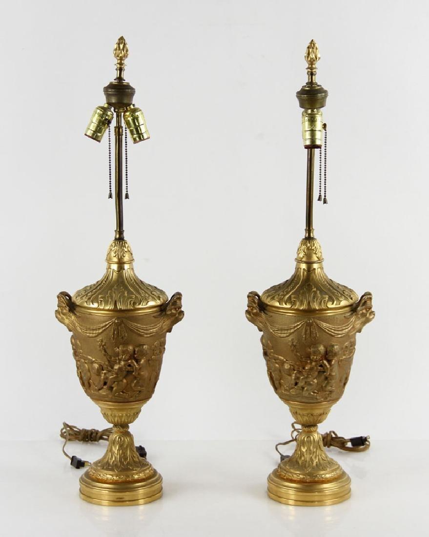 Pr. 19th C. French Bronze Dore Lamps