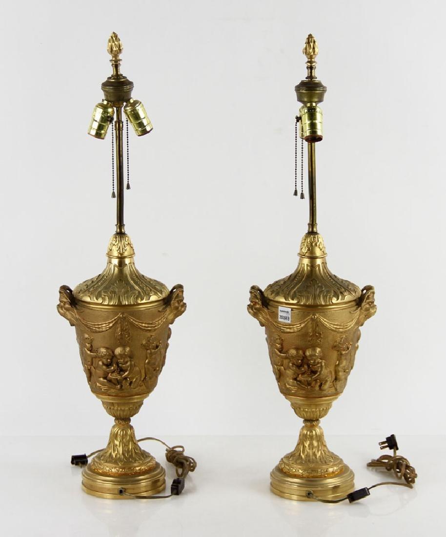 Pr. 19th C. French Bronze Dore Lamps - 2