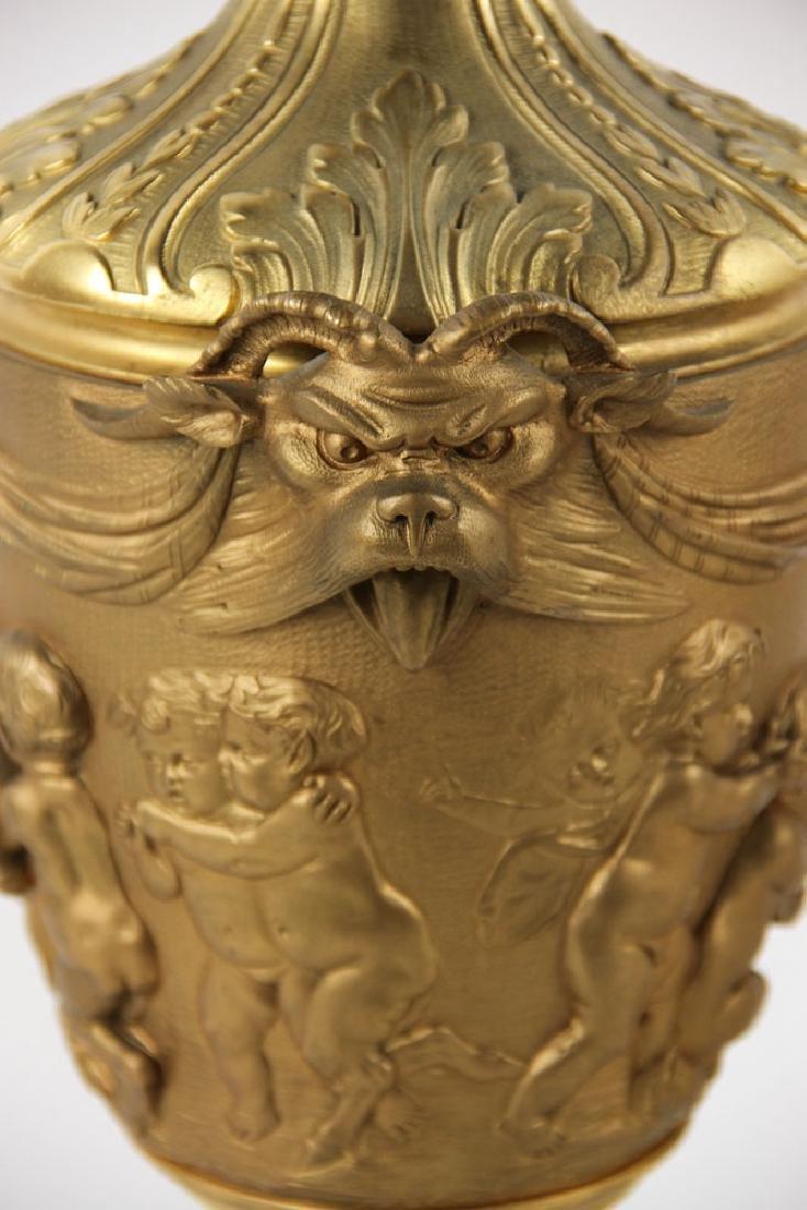 Pr. 19th C. French Bronze Dore Lamps - 6