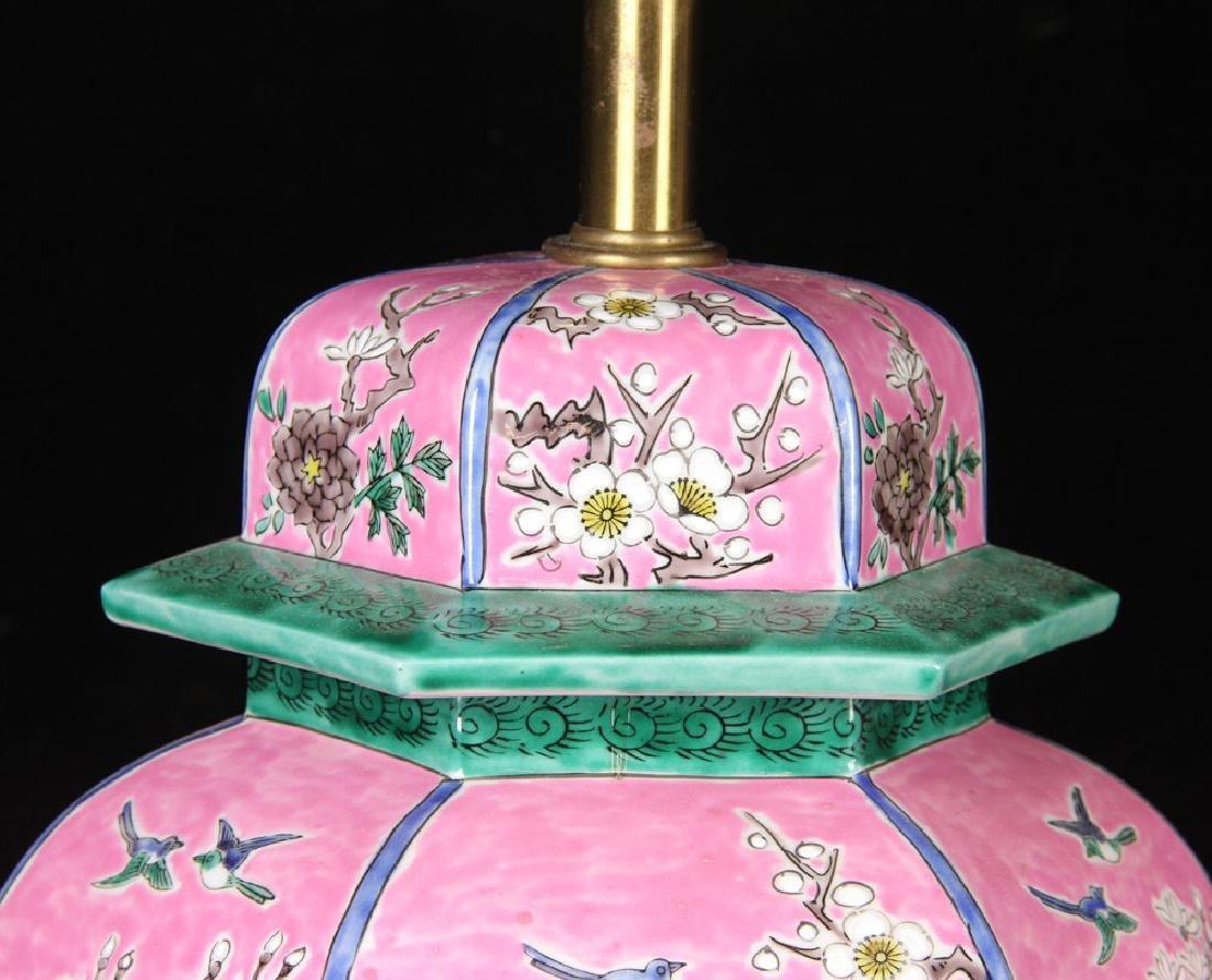 Pr. Famille Rose Porcelain Lamps - 3