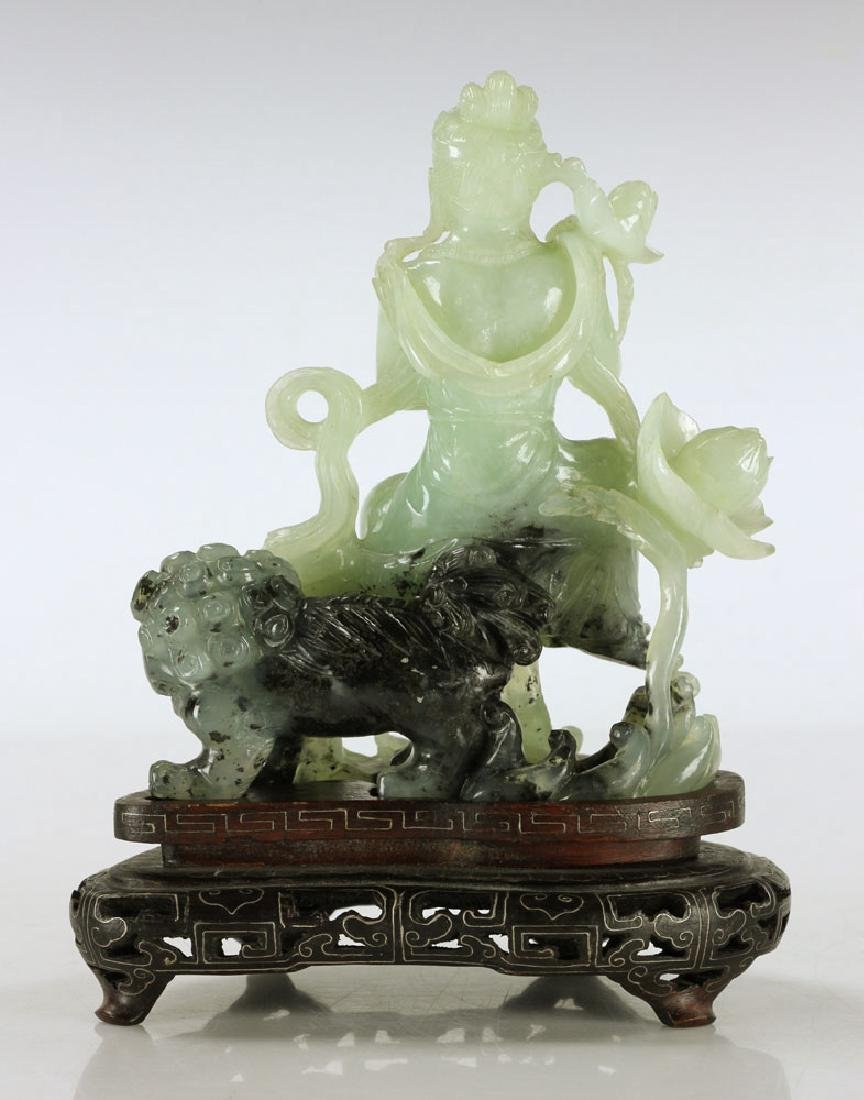 Carved Jade Seated Woman - 4