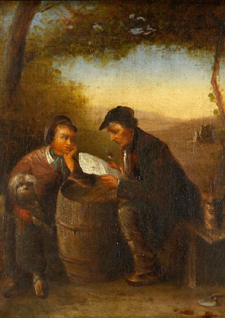 19th C. Continental School Painting, Oil - 2