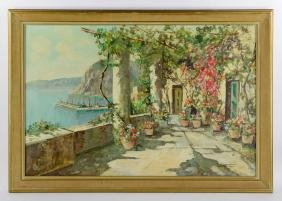 View Of The Amalfi Coast, Oil On Canvas