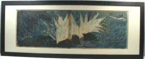 SGND A. FRASCONI SUMMER TIDE COLOR WOODCUT