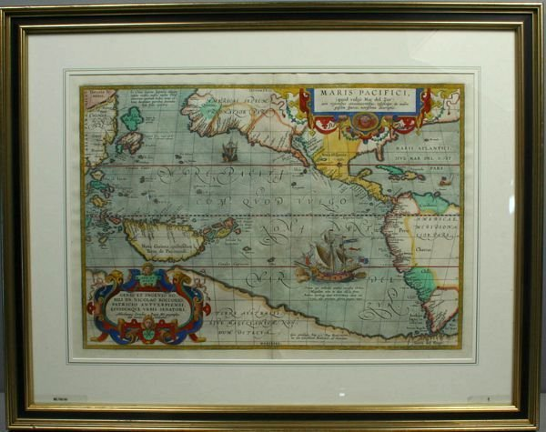 3010: ORTELIUS MAP, MARIS PACIFICI, HC ENGRAVING,1598