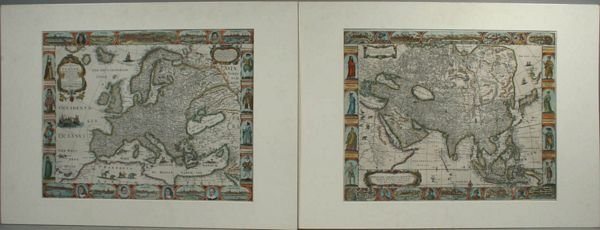 3011: SET OF OVERTON MAPS, HC ENGRAVING, C.1675