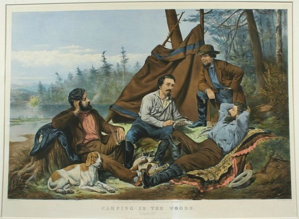 3014: A.F. TAIT, CAMPING IN THE WOODS, LITHO, 1863