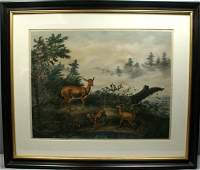 3015 AF TAIT HOME OF THE DEER LITHOGRAPH 1862