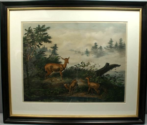3015: A.F. TAIT, HOME OF THE DEER, LITHOGRAPH, 1862