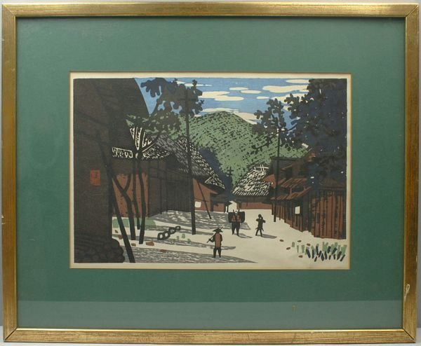 3025: KYOSHI SAITO, VILLAGE, COLOR WOODBLOCK PRINT