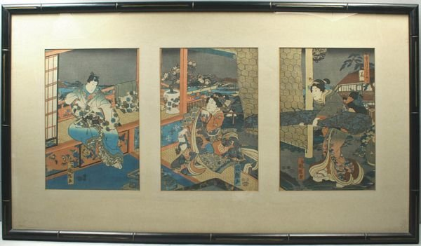 3026: GEISHAS IN AN INTERIOR, JAPANESE TRIPTYCH