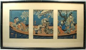 GEISHAS IN A BOAT, JAPANESE TRIPTYCH