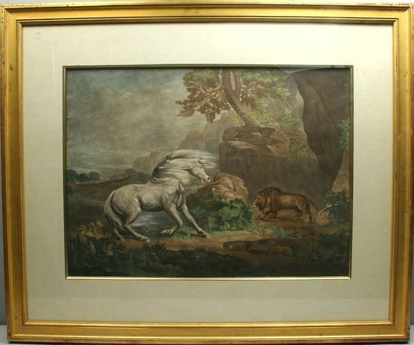 3038: GEORGE STUBBS, HORSE AND LION, HC MEZZOTINT