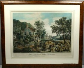 CURRIER & IVES, THE FARMERS HOME, LITHO, 1864
