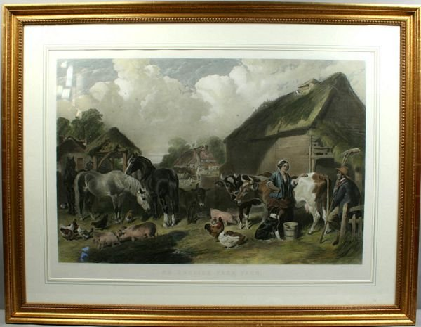 3040: J.F. HERRING, ENGLISH FARMYARD, HC ENGRAVING