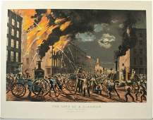 3165 CURRIER  IVES LIFE OF A FIREMAN LITHOGRAPH