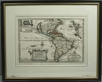 3174 EARLY 18th C MAP WESTERN HEMISPHERE DE FER