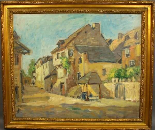 1: AFTER GEORGE ELMER BROWNE, TOWN SCENE, O/C