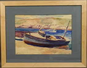 8: SGND A. BOGDANOVE, BOATS AT MONHEGAN, W/C