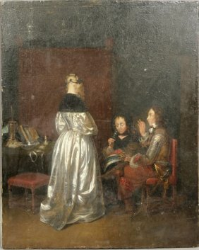 19th C., CAVALIER AND WOMEN IN AN INTERIOR, O/P