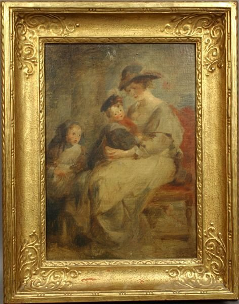 18: 19/20th C. PORTRAIT OF MOTHER AND CHILDREN, O/P