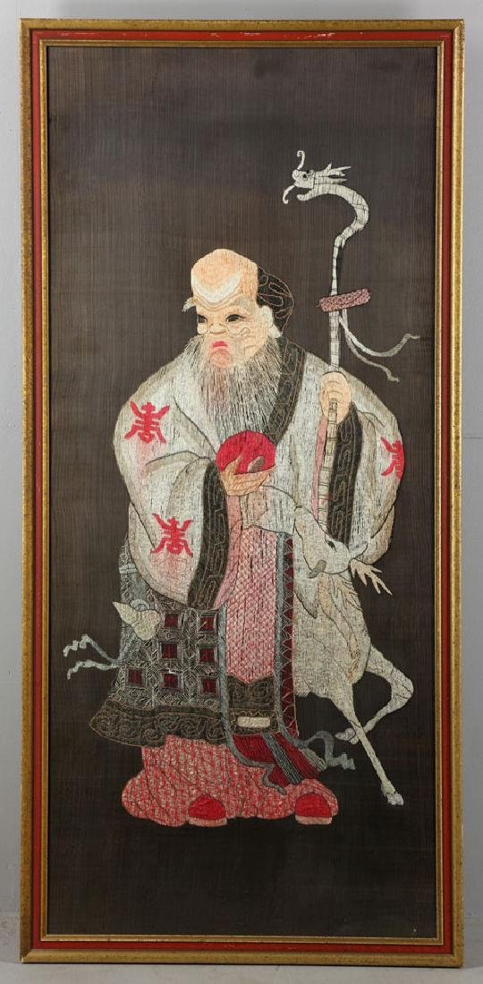 19th C. Chinese Embroidery of Shou Star Figure