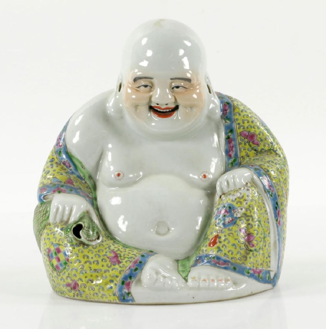 Chinese Famille Rose Porcelain Budai (Happy) Buddha