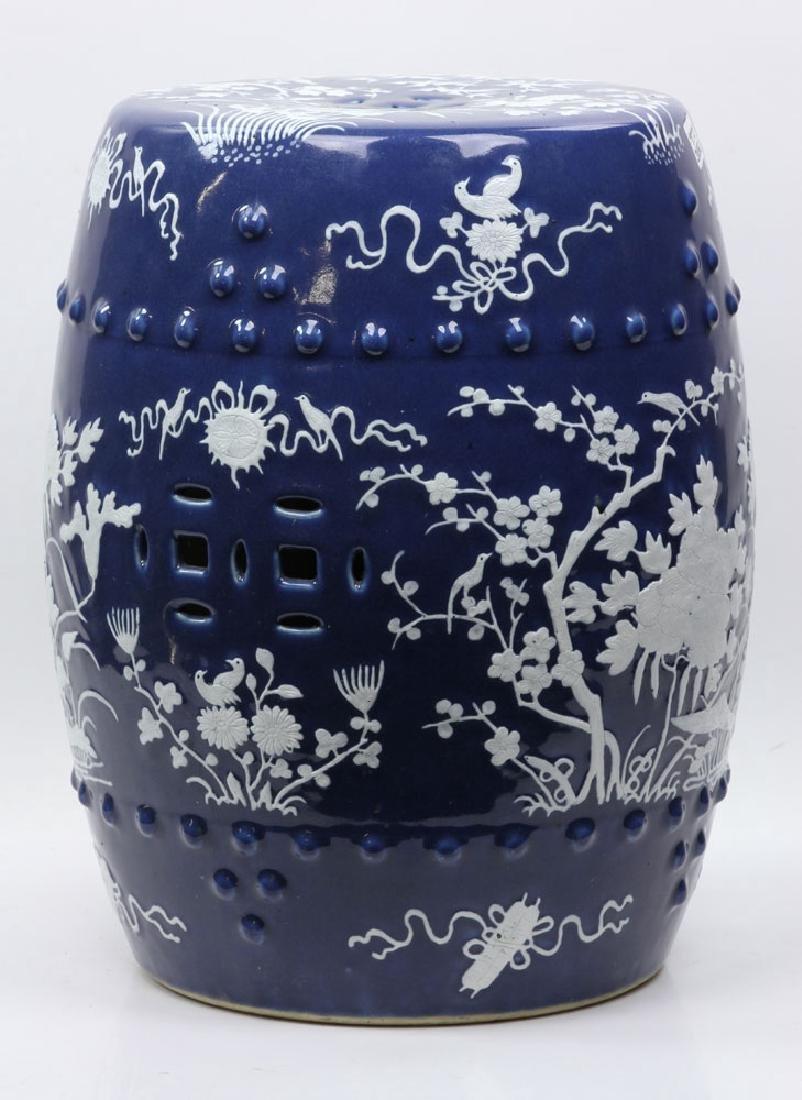 Mid-19th C. Blue Barrel Garden Stool - 2