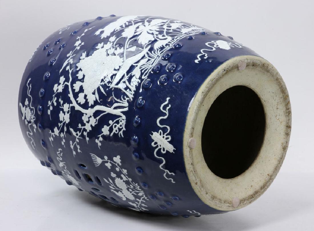 Mid-19th C. Blue Barrel Garden Stool - 5