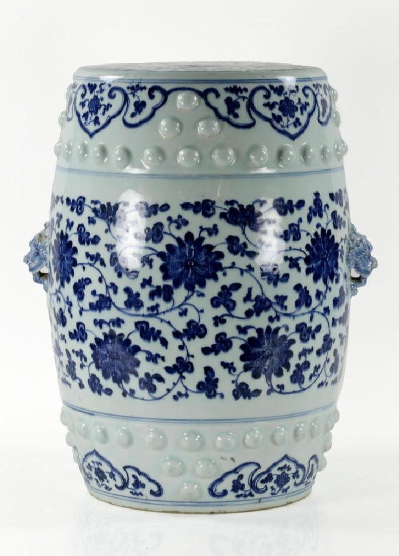 Chinese Blue and White Barrel Garden Stool