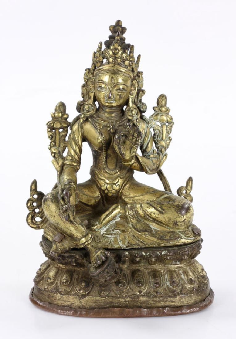 15th-16th C. Sino-Tibetan Bronze Tara Figure