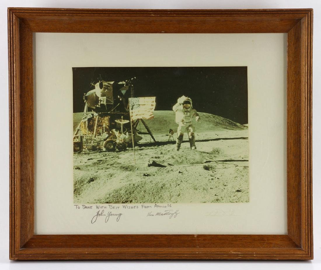 """Apollo 16 """"Leaping Navy Salute"""", Signed Photo"""
