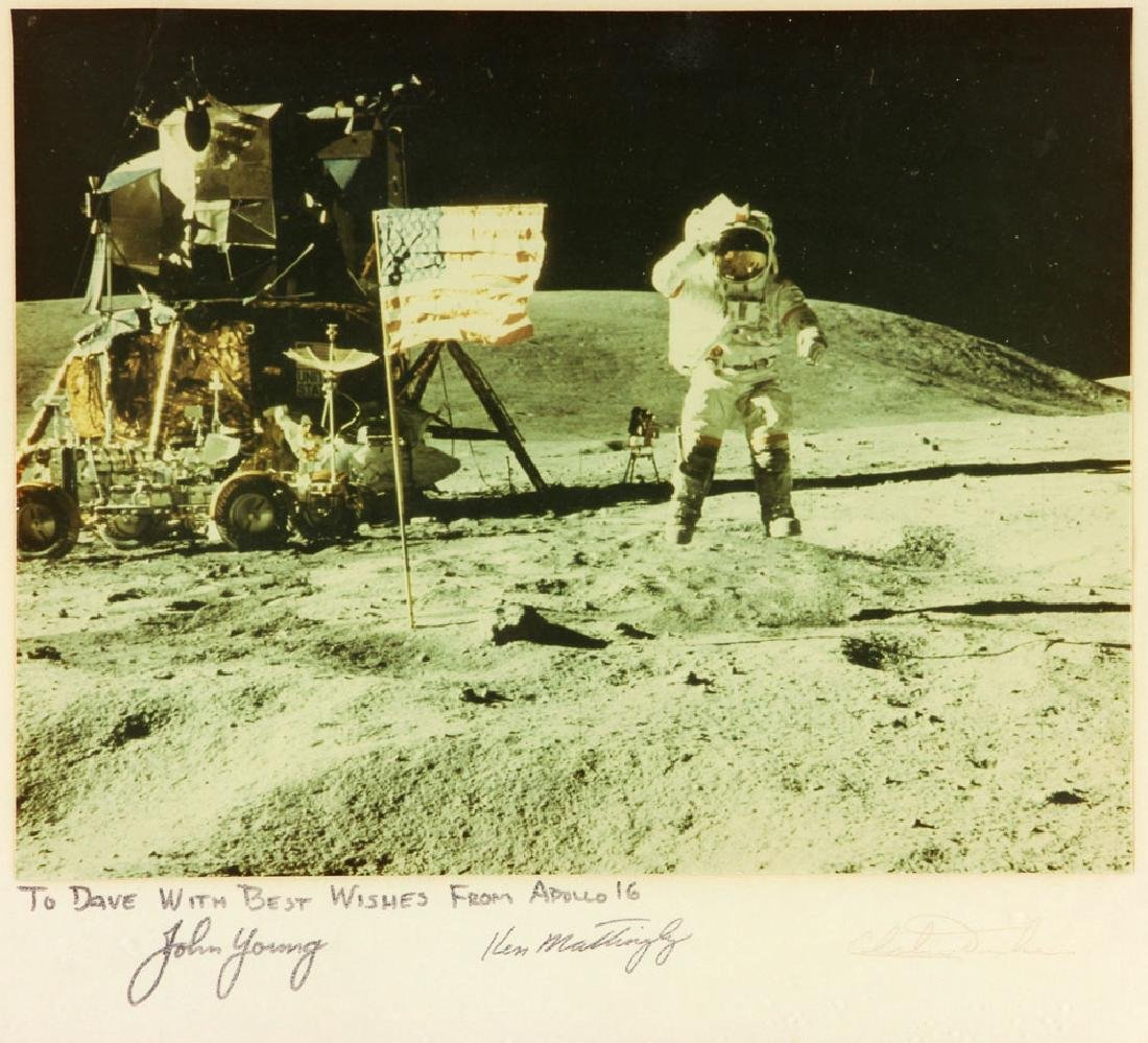 """Apollo 16 """"Leaping Navy Salute"""", Signed Photo - 2"""