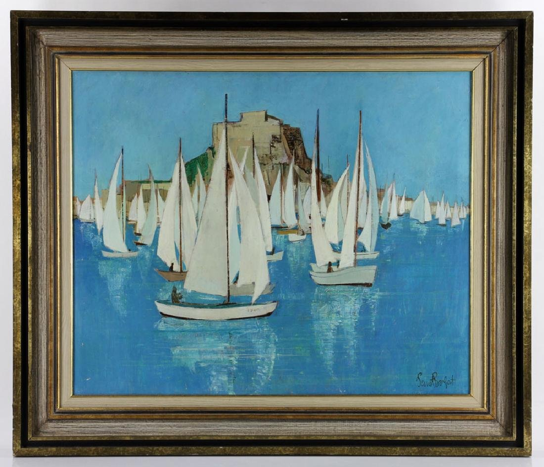 Bafort, Sailboat Race in Harbor, Oil on Canvas