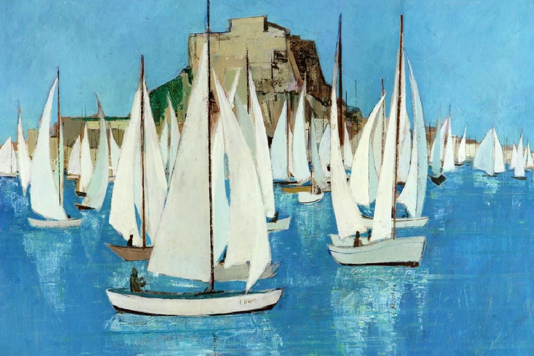 Bafort, Sailboat Race in Harbor, Oil on Canvas - 2