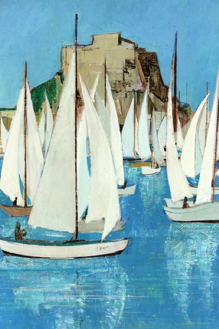 Bafort, Sailboat Race in Harbor, Oil on Canvas - 3