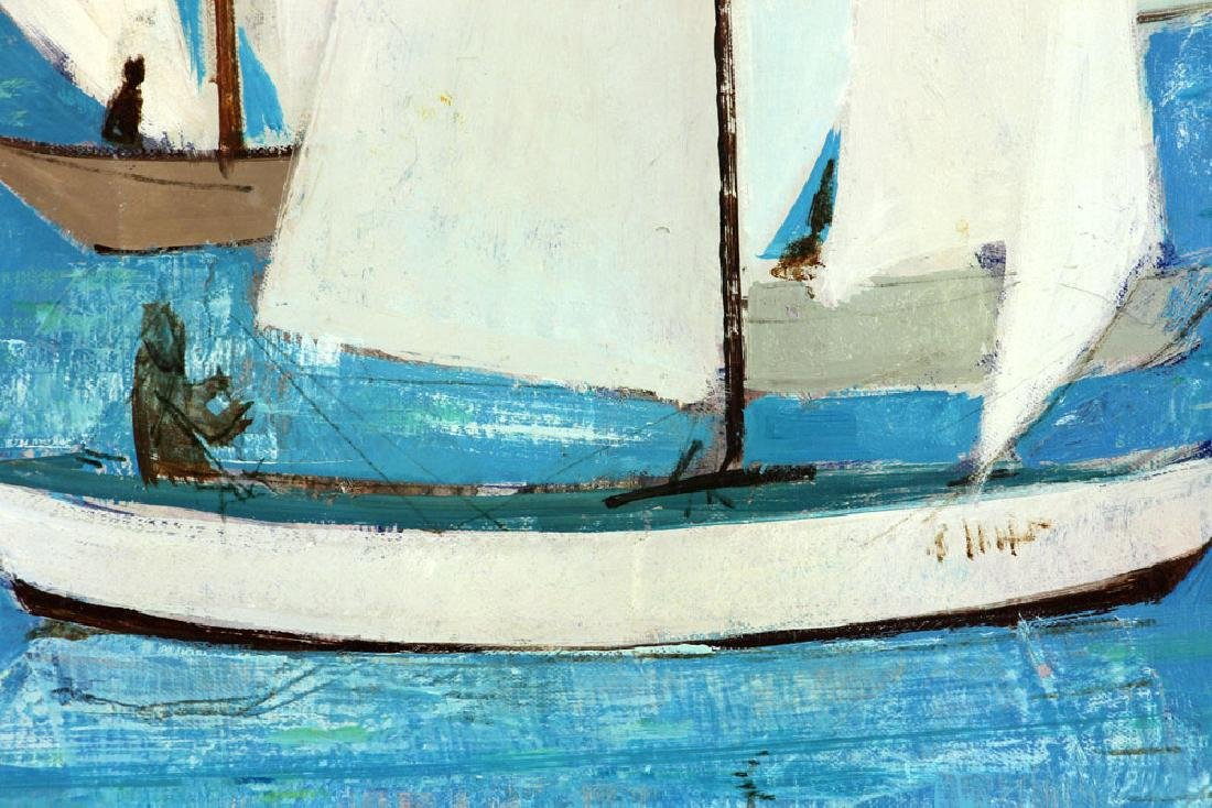 Bafort, Sailboat Race in Harbor, Oil on Canvas - 4