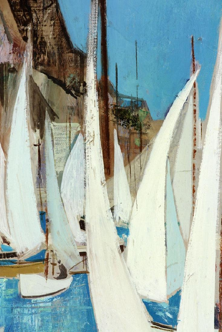 Bafort, Sailboat Race in Harbor, Oil on Canvas - 5