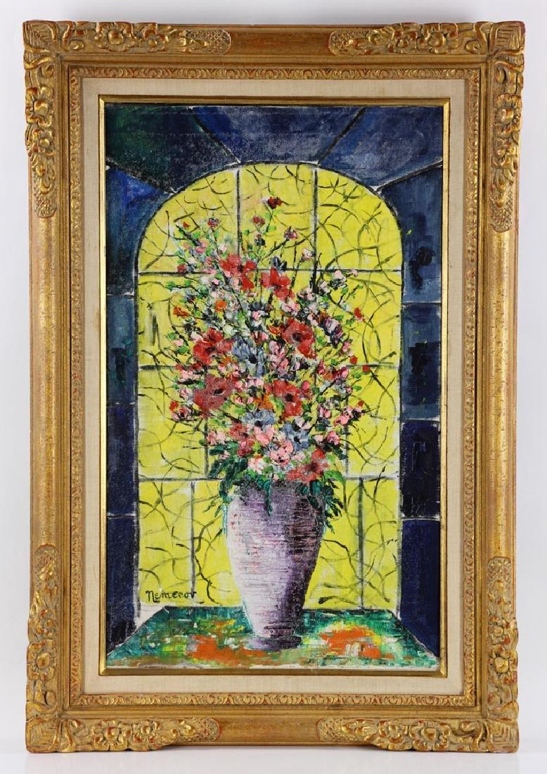 Nemerov, Floral Still Life, Oil on Canvas