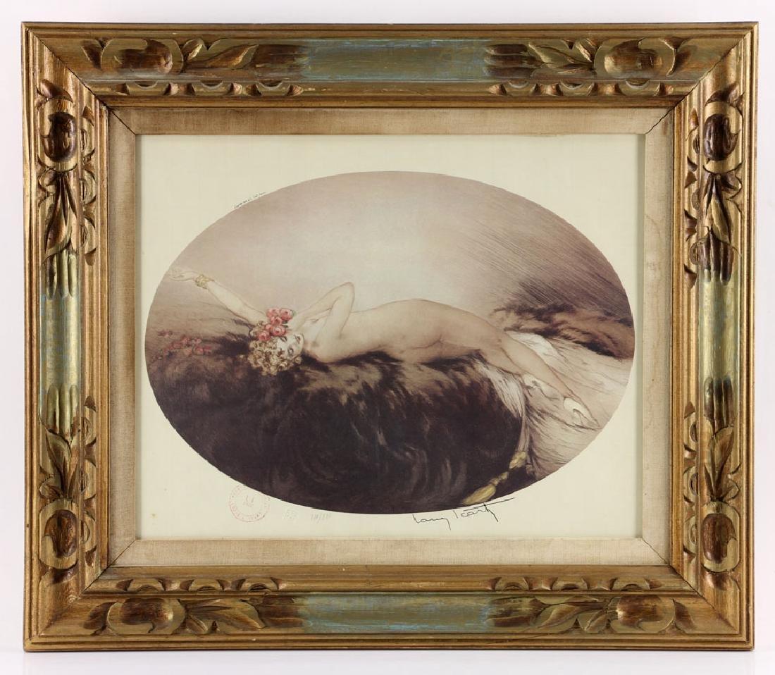 Louis Icart, Woman Reclining in Furs, Print